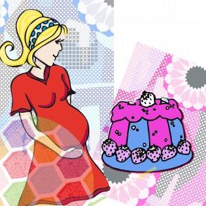 Gâteau femme rose bleu